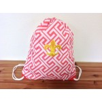 32632-CORAL GREEK KEY DESIGN W/GOLD FDL DRAWSTRING BACK PACK BAG