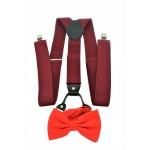 9001S/B-BURGUNDY SUSPENDER BOW TIE SET (RED)