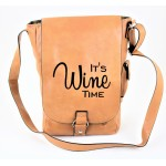 9002B - TAN LEATHER (PU) WINE BAG WITH (IT'S WINE TIME) MONOGRAMMED