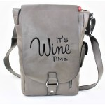 9002B - GREY LEATHER (PU) WINE BAG WITH (IT'S WINE TIME) MONOGRAMMED