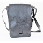 9002B - BLACK LEATHER (PU) WINE BAG WITH (IT'S WINE TIME) MONOGRAMMED