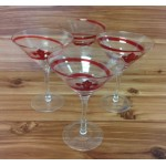 181142 - CLEAR W/RED SWIRL COCKTAIL GLASSES W/FDL  set of (4)