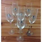 181145 - CLEAR  W/SILVER FDL (CHAMPAGNE) set of (6)
