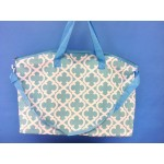 32580-AQUA/WHITE QUATREFOIL DESIGN TRAVEL,BEACH OR SHOPPING TOTE