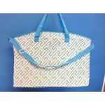 32587-AQUA/WHITE GREEK KEY DESIGN TRAVEL,BEACH OR SHOPPING TOTE