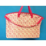 32588-PINK/WHITE GREEK KEY DESIGN TRAVEL,BEACH OR SHOPPING TOTE