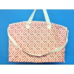 32590-CORAL/WHITE GREEK KEY DESIGN TRAVEL,BEACH OR SHOPPING TOTE