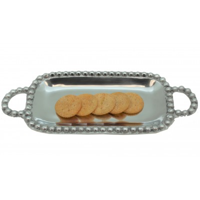 52296-BEADED RECT. TRAY W/HANDLE