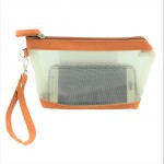 9172 - MUSTARD NET SEE THROUGH COIN POUCH OR COSMETIC/MAKEUP BAG