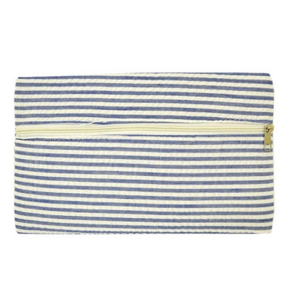 32717 - BLUE SEERSUCKER WALLET BAG/ COSMETIC BAG