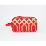 9226- RED & GOLD DESIGN COSMETIC BAG