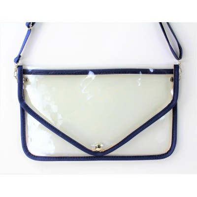 9167 -NAVY LINING TRANSPARENT CLUTCH BAG