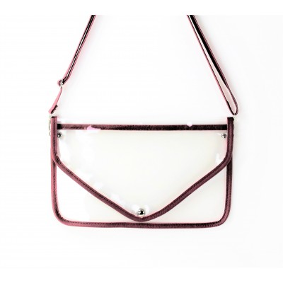 9167 -BROWN LINING TRANSPARENT CLUTCH BAG