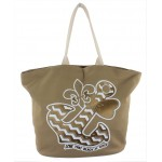 9212- BROWN BOW ANCHOR CANVAS TOTE BAG