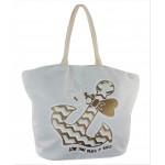 9212- WHITE BOW ANCHOR CANVAS TOTE BAG