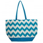 SW180592-AQUA/WHITE CHEVRON DESIGN INSULATED BAG
