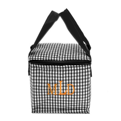 180934 - BLACK & WHITE GINGHAM INSULATED LUNCH BAG