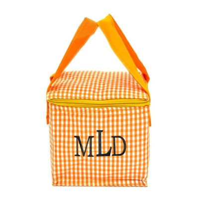 180937 - ORANGE & WHITE GINGHAM INSULATED LUNCH BAG