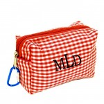 181023 - RED/WHITE GINGHAM COIN  POUCH OR COSMETIC/MAKEUP BAG*