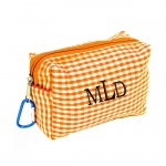 181025 - ORANGE/WHITE GINGHAM COIN  POUCH OR COSMETIC/MAKEUP BAG