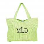 SW181031 - GREENWHITE GINGHAM SHOPPING BAG