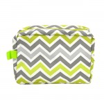181225 - LIME GREEN/WHITE & GRAY CHEVRON COSMETIC BAG