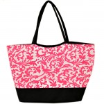 180475-PINK/BLACK FLOWER DESIGN SHOPPING OR BEACH BAG
