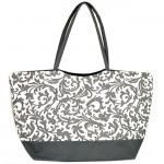 181259-GREY FLOWER DESIGN SHOPPING OR BEACH BAG