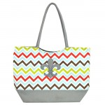 180790 - MULTI  CHEVRON PRINT SHOPPING OR BEACH BAG GRAY/FDL