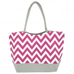 180793 - PINK/WHITE CHEVRON PRINT SHOPPING OR BEACH BAG