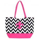 180798 - BLACK/WHITE CHEVRON PRINT SHOPPING OR BEACH BAG PINK/FDL