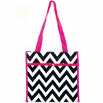 180852 -  BLACK/WHITE  CHEVRON DESIGN WITH PINK LINING TOTE BAG
