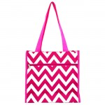 180853 - PINK/WHITE  CHEVRON DESIGN TOTE BAG