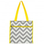 180857 - GRAY/WHITE  CHEVRON DESIGN WITH YELLOW LINING TOTE BAG