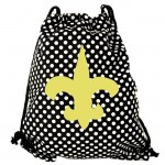 180712-BLACK/WHITE POLKA DOTS DRAWSTRING BAG W/GOLD FDL