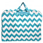 180523-AQUA/WHITE CHEVRON PRINT GARMENT BAG