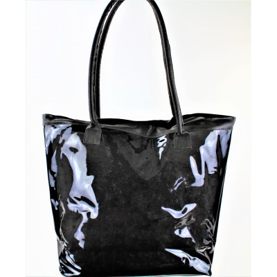 9173- BLACK TRANSPARENT SHOPPING OR BEACH BAG