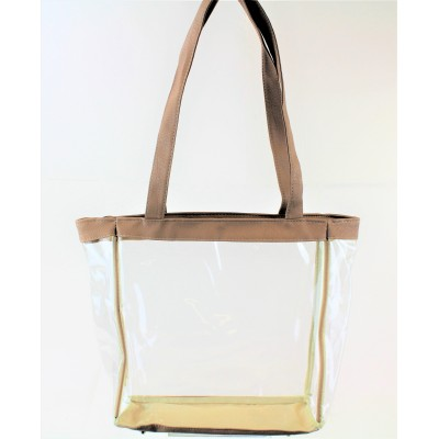9170-CAMEL LINING TRANSPARENT SHOPPING BAG/ BEACH BAG