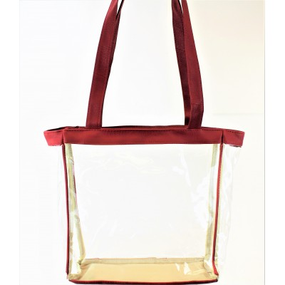 9170-RED LINING TRANSPARENT SHOPPING BAG/ BEACH BAG