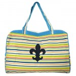 180582-FDL MULTI STRIPES DESIGN TRAVEl,BEACH OR SHOPPING TOTE W/POCKETS & FDL