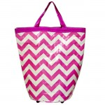 180762 - LARGE PINK/WHITE CHEVRON DESIGN SHOPPING OR UTILITY BAG W/ZIPPER AND WHEELS