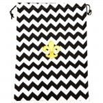 SW181247-2 BLACK&WHITE LAUNDRY BAG W/GOLD FDL