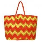 181267 - RED/GOLD CHEVRON SHOPPING OR BEACH BAG