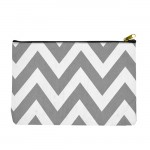 SW181288 - GRAY/WHITE CHEVRON WALLET BAG OR COSMETIC BAG