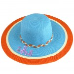 180891 - TURQUOISE FLOPPY HAT W/ ORANGE & WHITE ( MONOGRAM NOT AVAILABLE )