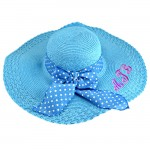 180898 - TURQUOISE FLOPPY  HAT W/ BOW ( MONOGRAM NOT AVAILABLE )
