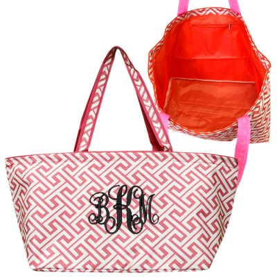 32678-CORAL/WHITE 7 POCKET GREEK KEY DESIGN TRAVEL,BEACH OR SHOPPING TOTE