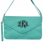 32737 - EMERALD GREEN LEATHER CLUTCH BAG