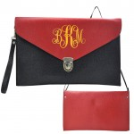 32748 - BLACK & RED LEATHER CLUTCH BAG