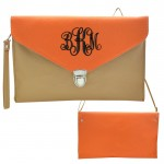 32749 - TAN & ORANGE LEATHER CLUTCH BAG